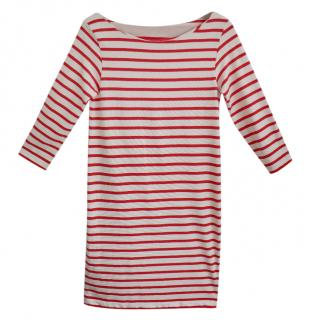 Ganni Red & White Jersey Striped Old Spice Shift Dress