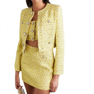 Alessandra Rich Yellow Metallic Tweed Crop Jacket