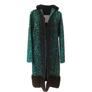 Oscar De La Renta Green Embellished Mink Trimmed Coat