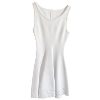 Alaia White Lasercut Knit Sleeveless Dress