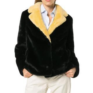 Stand Faux Fur Contrast Collar Mariska Jacket