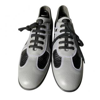 Artioli grey & black leather trainers