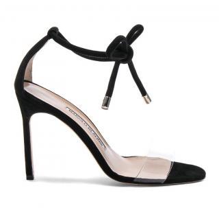 Manolo Blahnik black perspex & suede heeled sandals