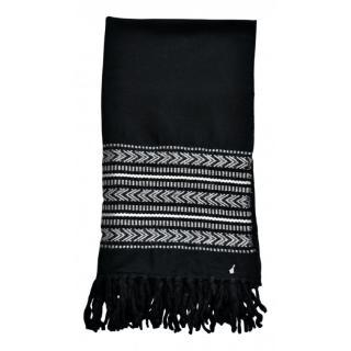 Saint Laurent black embroidered wool blend scarf.