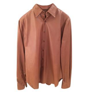 Ralph Lauren Black Label Tan Leather Shirt