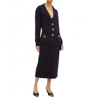 Alessandra Rich Navy Wool Knit Cardigan