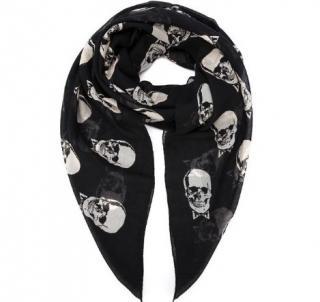 Saint Laurent Black Skull Print Scarf