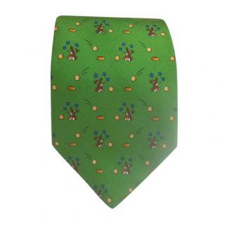 Hermes Green Rabbit Print Silk Tie