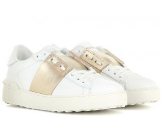 Valentino White Leather Gold Open Sneakers