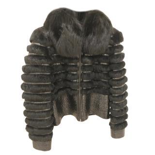 Bespoke black fox fur coat