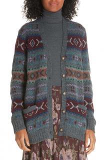 Polo Ralph Lauren Grey Intarsia Knit Aztec Wool Cardigan