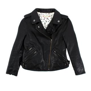 Bonpoint Black Leather Asymmetric Zip Biker Jacket