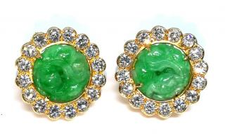 Bespoke Hand Carved Jade Diamond Set 18ct Yellow Gold Earrings