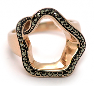 Babette Wasserman Marcasite Open Flower Ring in Rose Gold