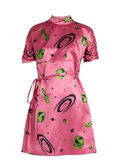 Miu Miu pink outer space silk dress