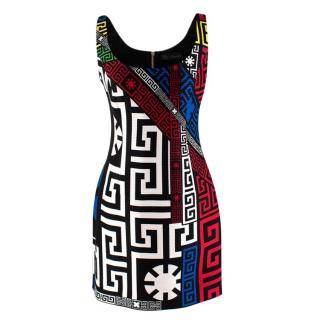 Versace Sleeveless Logo Print Ribbed Mini Dress