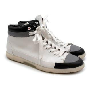 Prada Sport White Leather Lace Up High Top Trainers