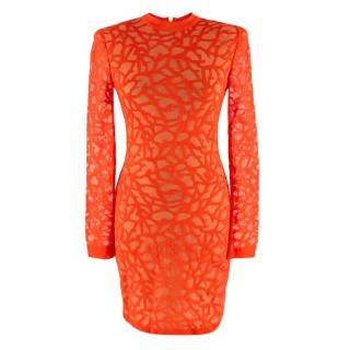 Balmain Coral Knit Fitted Mini Dress