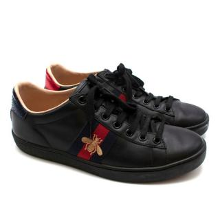 Gucci Black Ace Embroidered Sneakers