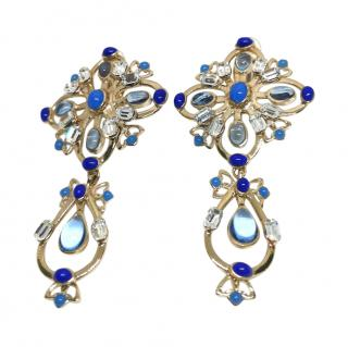 Gripoix Paris blue & gold tone poured glass clip-on earrings