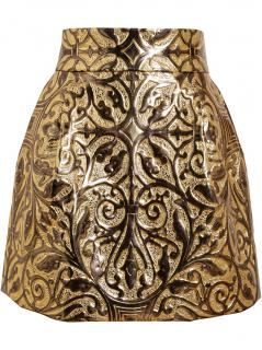 Dolce & Gabbana Metallic Embossed Brocade Skirt
