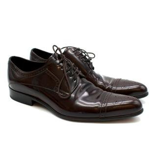 Dolce & Gabbana Dark Brown Patent Leather Derby Shoes