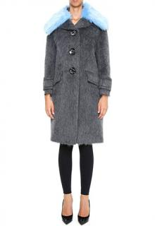 Prada Alpaca And Faux Fur Coat in Grey