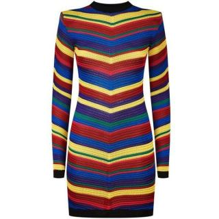 Balmain Multi-Colour Chevron Striped Knitted Mini Dress