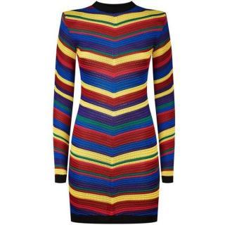 Balmain Multi-Colour Chevron Striped Knitted Mini Dress