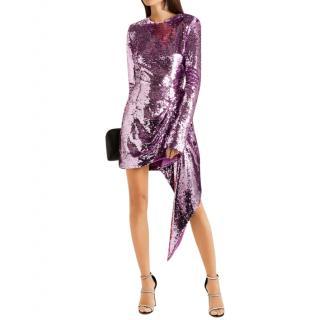 16Arlington Lilac Draped sequined crepe mini dress