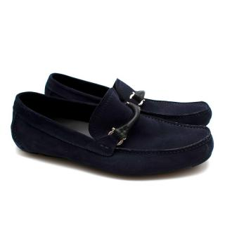 Ferragamo Navy Suede Driving Shoes