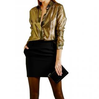Saint Laurent metallic gold silk blend shirt