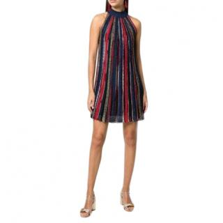 Missoni Striped-knit halterneck mini dress