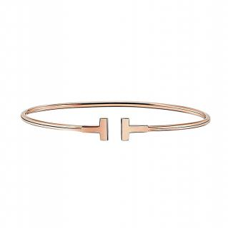 Tiffany & Co. T narrow 18ct rose gold wire bracelet