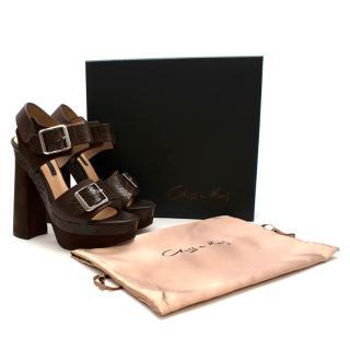 Chrissie Morris Ida Brown Python Chunky Platform Sandals