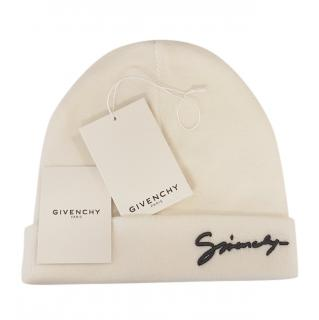 Givenchy cream signature logo wool beanie hat