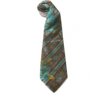Kenzo Paris burgundy & turquoise floral stripe silk tie