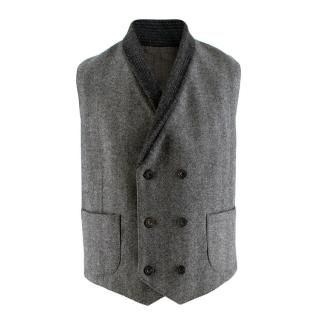 Hardy Amies Grey Chevron Wool Blend Buttoned Waistcoat