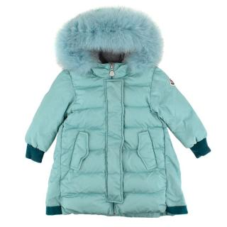 Moncler Turquoise Fur-Hooded Padded Kids Jacket