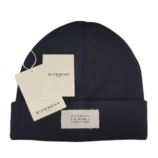 Givenchy navy patch logo wool blend beanie hat