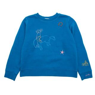 Bonpoint Blue Embroidered Equestrian Sweater