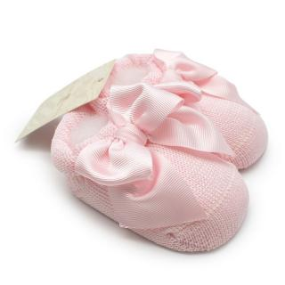 Story Loris Cotton Pink Knitted Booties with Bow