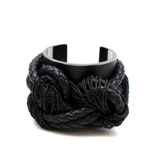 Tom Ford Black Braided Leather Silver Tone Metal Beaded Cuff
