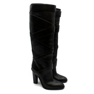 Saint Laurent Black Wraparound Leather Boots