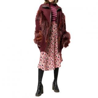 Stella McCartney burgundy red faux fur detail knitted coat