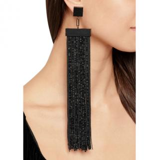 Tom Ford Black Fringed gunmetal-tone, ebony and beaded earrings