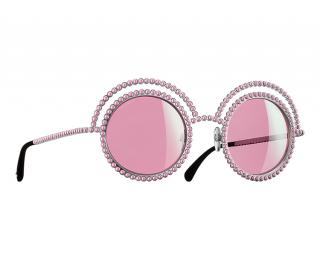 Chanel Round Faux Pearl Embellished Pink Sunglasses