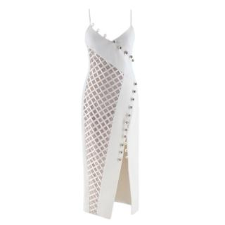 David Koma Cady Diamond Mesh Asymmetric Midi Dress