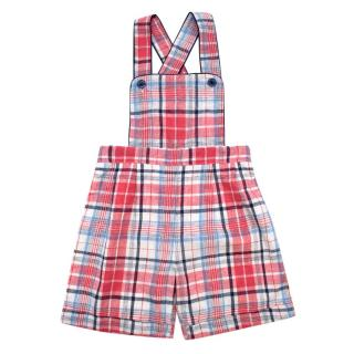 Rachel Riley Cotton Plaid Dungarees