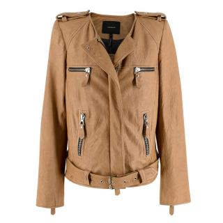 Isabel Marant Beige Leather Collarless Biker Jacket